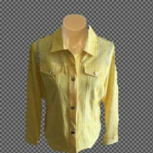 Jackets & Blazers - CUTE YELLOW AND WHITE PRINT SPARKLE JACKET